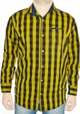 Bornleaf Men's Checkered Casual Yellow S...