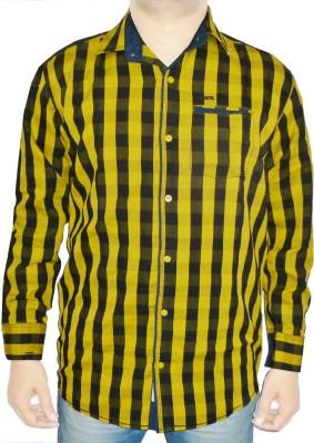 Bornleaf Men,s Checkered Casual Yellow Shirt