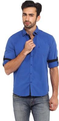 I-Voc Men,s Solid Casual Blue Shirt