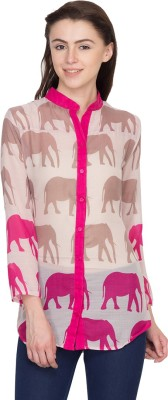 Famous by Payal Kapoor Women's Animal Print Casual Pink Shirt
