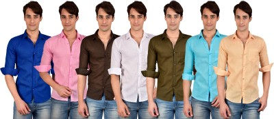 BRC Men's Solid Casual Linen Multicolor Shirt