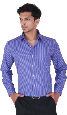 Cocablue Men's Striped Formal Dark Blue Shirt