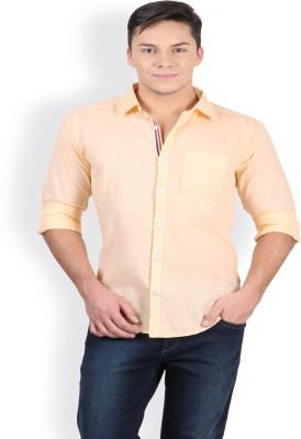 Blue Fire Men's Solid Casual Orange Shirt