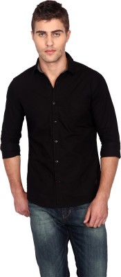Unmask Men's Solid Casual, Party Black Shirt