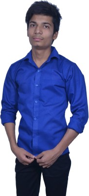 Rank Men's Solid Casual Dark Blue Shirt