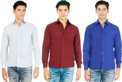 Atmosphere Men's Solid Formal Light Blue, Maroon, Dark Blue Shirt