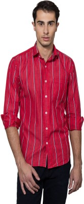 Lee Marc Men's Striped Casual Red Shirt