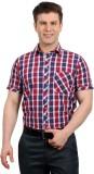 Solemio Men's Checkered Casual Red Shirt