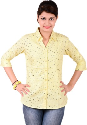 Jazzy Ben Women,s Printed Casual Yellow Shirt