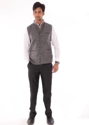 OM PRINTS Men's Self Design Casual Grey Shirt