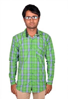 Royal Fashion Men's Checkered Casual Green Shirt
