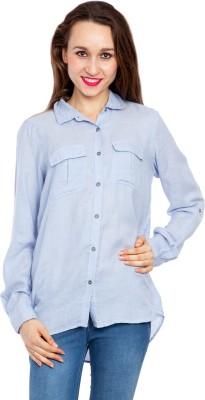 Kridh Women's Solid Casual Light Blue Shirt