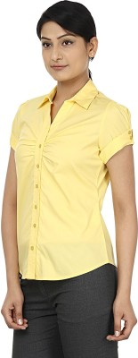 Wills Lifestyle Women's Solid Formal Yellow Shirt