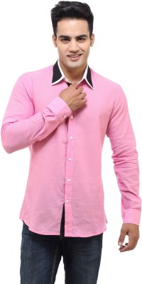 See Designs Men,s Solid Casual Pink Shirt