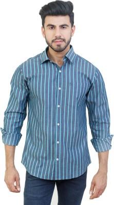 Solzo Men's Striped Casual Grey Shirt