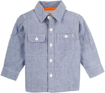 Mom & Me Boy's Solid Casual Light Blue Shirt