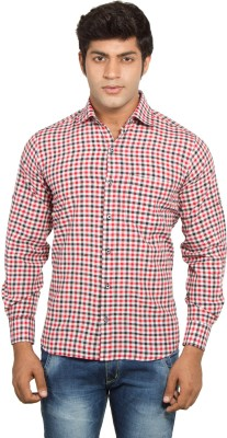 Nauhwar Men's Checkered Formal Red Shirt