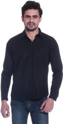 Calibro Men's Solid Casual Black Shirt