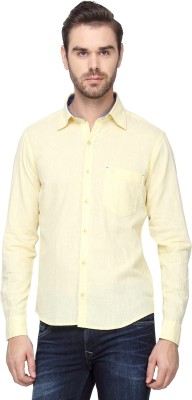 Cross Creek Men's Solid Casual Yellow Shirt