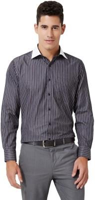 University of Oxford Men's Striped Formal Grey Shirt
