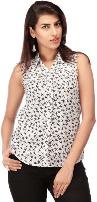 Life by Shoppers Stop Women's Printed Casual White Shirt