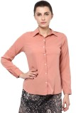 Protext Women's Solid Formal Pink Shirt