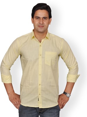 Mc-John Men's Solid Formal Yellow Shirt