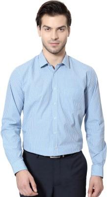 Van Heusen Men's Checkered Casual Blue Shirt