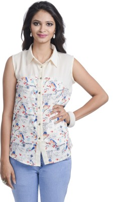 Belly Bottom Women's Printed Party White Shirt