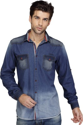 SEVEN STITCHES Men's Solid Casual Denim Dark Blue Shirt