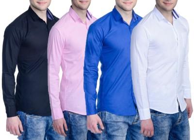 Aligatorr Men's Solid Formal Blue, Black, Pink, White Shirt