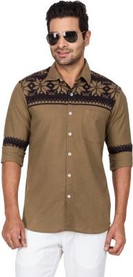 Laven Men's Self Design Casual Brown Shirt