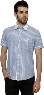 True Tittos Men's Striped Casual Light Blue, White Shirt