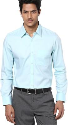 First Row Men's Solid Formal Light Green Shirt