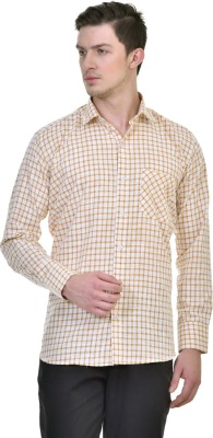 Comfortline Men's Checkered Casual Yellow Shirt