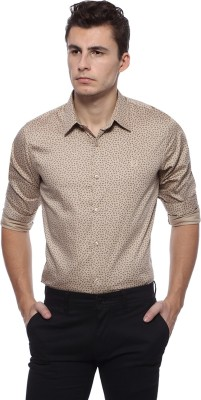 Derby Jeans Community Men's Printed Casual Beige Shirt