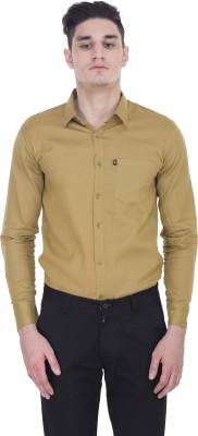 LONDON LOOKS Men's Solid Formal Brown Shirt