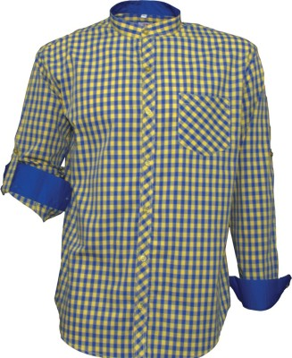 Darium Men's Checkered Casual Blue, Yellow Shirt