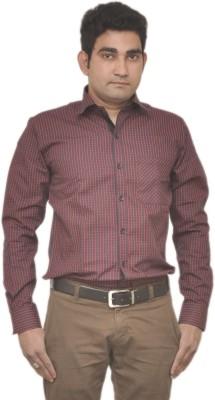 Benzoni Men's Checkered Casual Dark Blue, Red Shirt