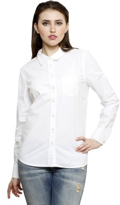 Lee Marc Women's Solid Casual White Shirt