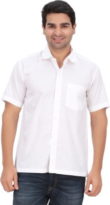 Anytime Men's Striped Casual White Shirt