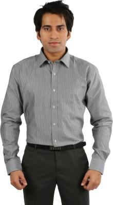 Desar Rana Men's Striped Formal Grey, Black Shirt