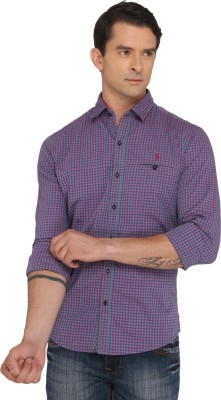 Donear NXG Men's Checkered Casual Purple Shirt
