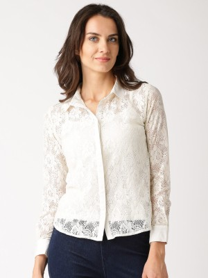 Dressberry Women's Solid Casual White Shirt