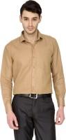 Dennison Formal Shirts (Men's) - Dennison Men's Solid Formal Linen Brown Shirt