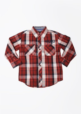 Nautica Boy's Checkered Casual White, Blue, Red Shirt