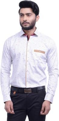 Hoffmen Men's Self Design Party White Shirt