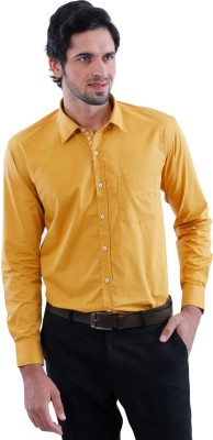 Cairon Men's Solid Casual Yellow Shirt