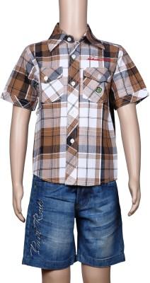 Chutti Pluss Boy's Checkered Casual Maroon Shirt