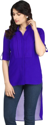 AKFASHION Women's Solid Casual Blue Shirt